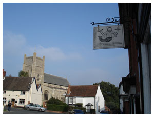 The Orford and Butley Oysterage with the Chruch across the town square