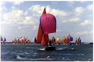 A racing fleet head off downwind on the Crouch