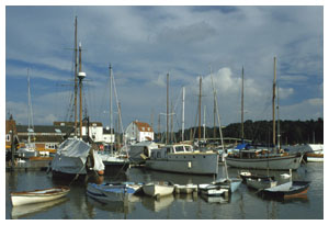 Woodbridge harbour with the Tide Mill in the background